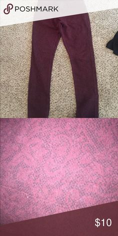Jeggings Red jeggings with printed pattern Vanilla Star Pants Skinny
