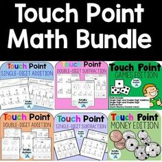 this Touch Number bundle (Touch Math) includes practice with single digit addition, single digit subtraction, double digit addition, double digit subtraction, and Touch Money. Touch Point Math, Touch Math, Addition Games, Addition And Subtraction, Help Teaching, Teaching Math, Teacher Hacks, Teacher Pay Teachers, Counting Money