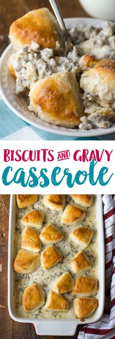 This biscuits and gravy casserole recipe is such a delicious way to wake up on a Saturday morning! It's the perfect breakfast casserole! Biscuits and Gravy Casserole Recipe - Easy Breakfast Casserole - Biscuits and Gravy Casserole Recipe Breakfast Dishes, Breakfast Recipes, Paleo Breakfast, Breakfast Crockpot, Breakfast Potluck, Breakfast Biscuits, Morning Breakfast, Breakfast Club, Biscuits And Gravy Casserole