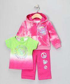 Look at this #zulilyfind! Rose Azalea Zip-Up Hoodie Set - Kids #zulilyfinds