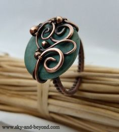 Tribal Band  Turquoise Stone Wire Wrapped Copper by SkyAndBeyond, $42.00