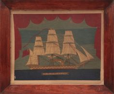 "19th Century English Woolie ""Portrait of the H.M.S. Hero"" 
