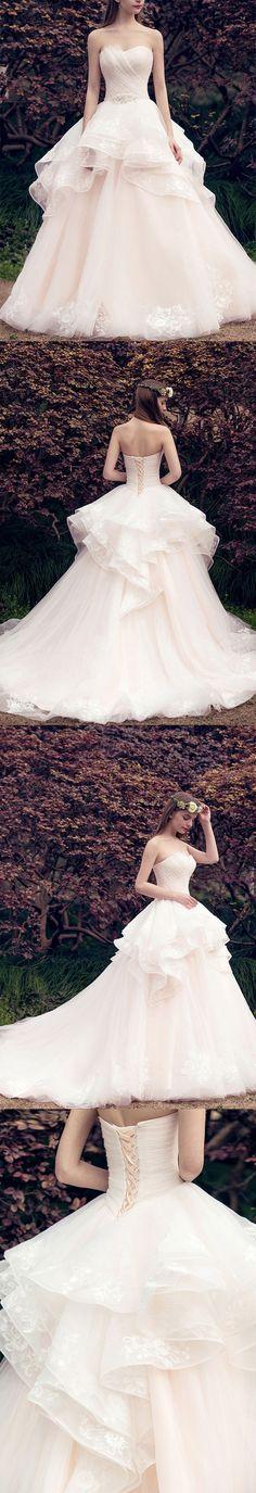 A-line Sweetheart Chapel Train Tulle Lace Wedding Dresses ASD27011 #weddingdress #bridal #sweetheart #lace