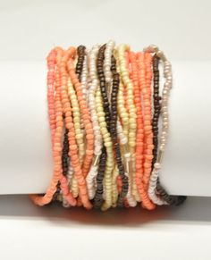 Coral Cream Brown Tan seed bead bracelet Set of 20 by tuchela