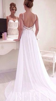 White low-backed shoestring strap wedding dress