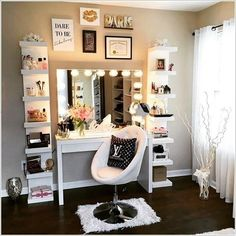 You can choose corner DIY vanity table too, it not only save your space but also look good. you have many options to choose corner vanity table.