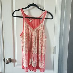 Peach and lace Tank top Lace overlay Jolt Tops Tank Tops