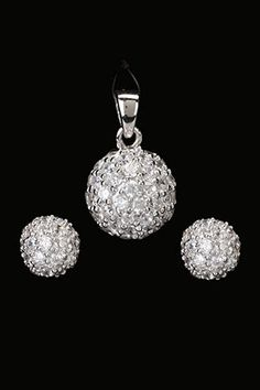 Silver & Co  Sterling Silver Pave Earrings & Pendant Set In Clear  $135.00