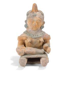 Maternité. Terre cuite brune à décor peint jaune, rouge et bleu. Culture Jama, Coaque, Équateur. 500 av. - 500 ap. J.-C.Fin le 5/03