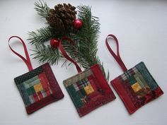 Christmas Ornaments - Mini Log Cabin Quilts - Set of 3. $20.00, via Etsy.