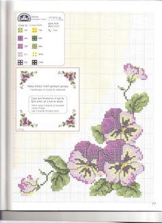 Cross-stitch Pansies Tablecloth...    masa örtüsü-1şema-a