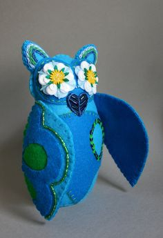 Papel Picado Embroidered Owl - Mexican Folk Art - Owl Doll- Soft Sculpture Owl- Blue, Green, Daisies