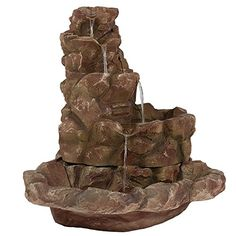 Sunnydaze Lighted Stone Springs Outdoor Water Fountain with LED Lights 415 Inch Tall *** For more information, visit image link-affiliate link. #IndoorFountainsAccessories