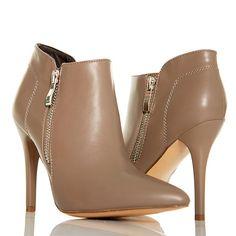 Botki - Klasyczne Szpilki w Kolorze Taupe - Zamek - www.BUU.pl #botki #taupe #heels #shoes