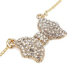 tuscompras - Plateado rhinestone bowknot colgante de collar de cadena larga de oro ID(916609)