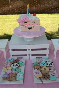 Kawaii birthday party desserts! See more party ideas at CatchMyParty.com!