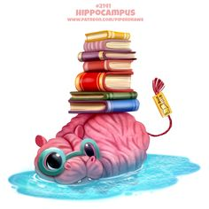 Draw Creatures Daily Paint Hippocampus by Cryptid-Creations - Cute Food Drawings, Cute Animal Drawings Kawaii, Kawaii Drawings, Cute Fantasy Creatures, Cute Creatures, Cute Cartoon, Cartoon Art, Animal Puns, Animal Food