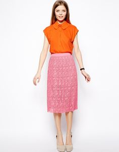 ASOS Midi Skirt In Pleated Lace