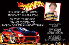 Personalized Hot Wheels Invitation by AxiomStationery on Etsy, $10.99