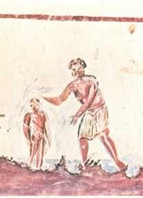 Bautismo de Cristo, catacumbas de Calixto