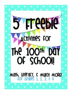 5 Free Activities For the 100th Day of SchoolMath, Literacy, and Much Much More!For Grades PreK-4The 5 free activities include: -List of 20 100 Day Books to read-I will look like this when I'm 100 years old-My list of 100 favorite things-100 subtraction problems-100 day classroom P.E.For the full file of 50 activities to do on the 100th day of school go to: http://www.teacherspayteachers.com/Product/50-Activities-For-the-100th-Day-of-School-Math-Literacy-Much-Much-More-1083049