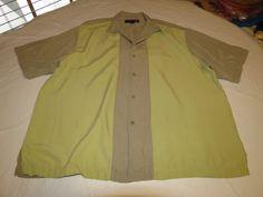 Mens Nat Nast Luxury Original XL silk short sleeve button up shirt casual EUC@ #NatNast #ButtonFront