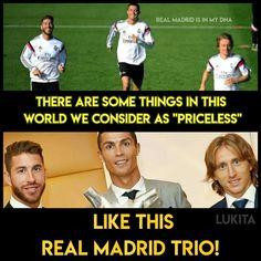 Ramos, Ronaldo and Modric, the trinity of Real Madrid! Football Fever, Real Madrid Players, Sports Memes, Cristiano Ronaldo, In This World, Soccer, Futbol, European Football, Sports Humor