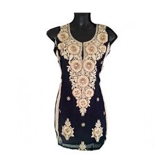 Short Gold Floral Patchwork Embroidered Tunic Top/Blouse by Jywal