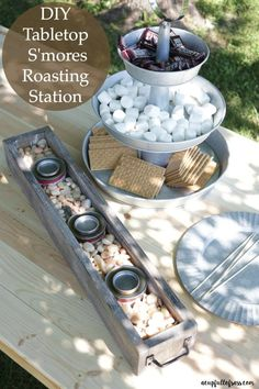 DIY Tabletop S'mores Roasting Station DIY Tabletop S'mores Roasting Station. No need to make a fire for S'mores.This has been a game changer for us! Camping Parties, Grad Parties, Birthday Parties, Birthday Treats, Outdoor Parties, Summer Parties, Bbq Party, S'mores Bar, Party Entertainment