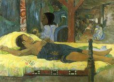 Paul Gauguin.  Geburt Christi, des Gottessohnes (Te tamari no atua). 1896, Öl auf Leinwand, 96 × 128 cm. München, Neue Pinakothek. Synthetismus. Frankreich. Postimpressionismus.  KO 01406