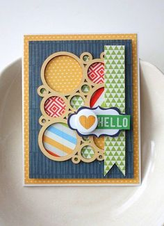 Favorite Cards: I am in love with the circle wood veneer from the Copper Mountain kit and really love how it's used on this card to feature all the papers of the kit. Hello Card by Shellye at @Studio_Calico