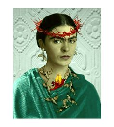 Frida Kahlo Thorn Humming Birds Sacred Heart Original Print Photomontage Modern Home Decor Turquoise Green Rebozo Small to Poster Print Red