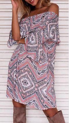 Vestido Ciganinha Estampado Casual - Compre Online