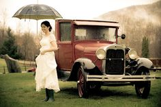 Riverside Farm: Bride in her grandmother's gown, a rainy day in Vermont, an old Ford pickup and hunter boots. Love it! Timeless. Mindy you're beautiful!     Susan Stripling Photography