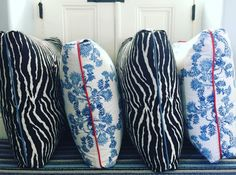 "Colleen Bashaw Design // Pillow delivery for Congress Hall // Brunschwig and Fils ""Le Zebre"" and John Robshaw's ""Lapis"" ⭐️⭐️⭐️"