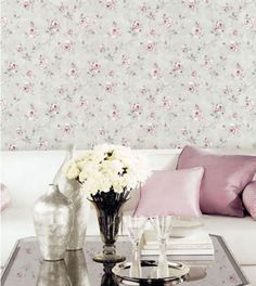 rose garden galerie wallpaper #grey #pink #floral #homedecor