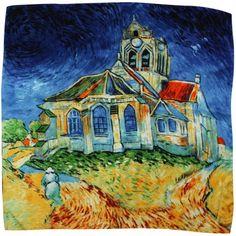 "Van Gogh Gift Ideas - 100% Luxury Square Silk Scarf - Van Gogh ""The Church at Auvers"" - Blue http://www.dahliajewels.com/100-luxurious-charmeuse-silk-van-goghs-the-church-at-auvers-square-scarf/p-SF0171SKW-BL.html"