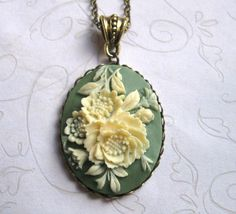 Cameo Necklace vintage style sage green long by botanicalbird
