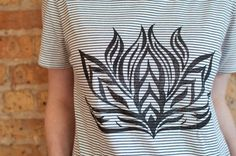 Striped Lotus Flower T-Shirt High-Low T-Shirt Woman by Aquani