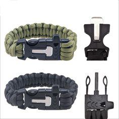 Outdoor Uomini Campeggio di Salvataggio Paracord Dei Paracadute Cord Braccialetti di Corda Di Emergenza Kit Di Sopravvivenza Flint Raschietto Fischio Fibbia