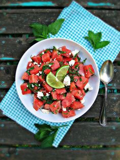 Watermelon, Feta & Mint Salad #splendidsummer