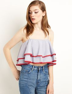 Blue and Red Ruffled Off the Shoulder Crop Top #fashion #pixiemarket