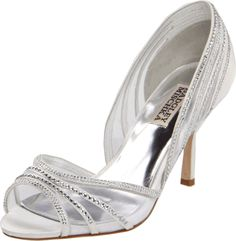 Badgley Mischka Women's Glynn Pump, White, 7.5 M US. Dazzling d'Orsay pump with floating stone detail atop translucent panels. Gently padded instep.