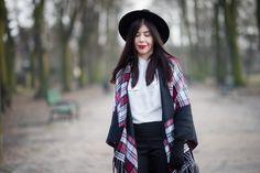 lillymarlenne.blogspot.com  OOTD with checkered poncho and white shirt  #redlips #redlipstick #boho #womensfashion