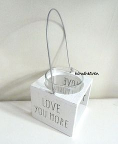 Love You More Tea Light candle Holder lantern Wood Small Shabby Chic…