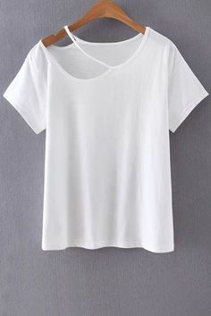 Solid Color Cut-Out T-Shirt More #diytshirt