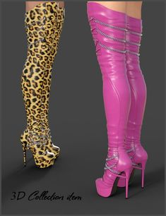 Evelyn High Boots for Genesis 3 Females is a footwear, glamour, uniform/costume for Genesis 3 Female for Daz Studio or Poser created by Arryn and Onnel. Rosa High Heels, Pink High Heels, High Heels Stilettos, Womens High Heels, Pumps, Thigh High Boots Heels, Stiletto Boots, Heeled Boots, The Sims