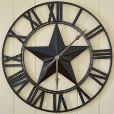 Iron Star Clock Country Decor, Rustic Decor, Farmhouse Decor, Western Decor, Rustic Clocks, Farmhouse Style, Farmhouse Kitchens, Rustic Art, Industrial Farmhouse