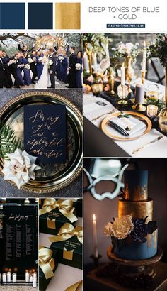 dark blue and gold color palette , dark blue and gold color combos wedding color , navy blue and gold wedding color palette Navy Blue And Gold Wedding, Navy Wedding Colors, Winter Wedding Colors, Gold Wedding Theme, Gold Wedding Invitations, Wedding Themes, Themed Weddings, January Wedding Colors, Blue Tuxedo Wedding
