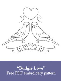 """Budgie Love"" free PDF embroidery pattern"